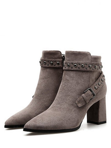 Cheap Studded Strap Pointed Toe Ankle Boots