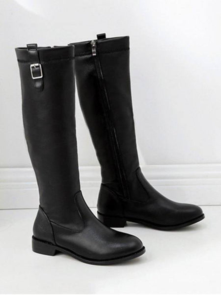 Fashion Buckle Decorative PU Leather Knee High Boots
