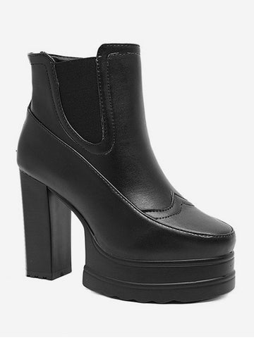 Fashion Platform Chunky High Heel Chelsea Boots