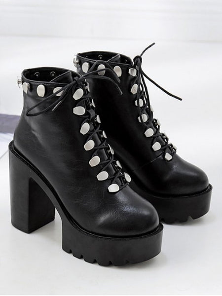 Chic Platform High Heel Studded Ankle Boots