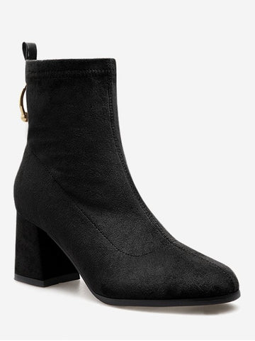 Chic Circle Decorative Chunky Heel Ankle Boots