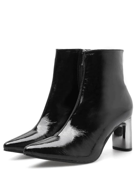 Sexy Pointed Toe Plated Chunky Heel Boots