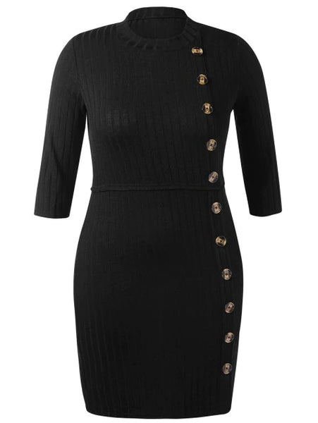 Vintage Plus Size Ribbed Tight Dress