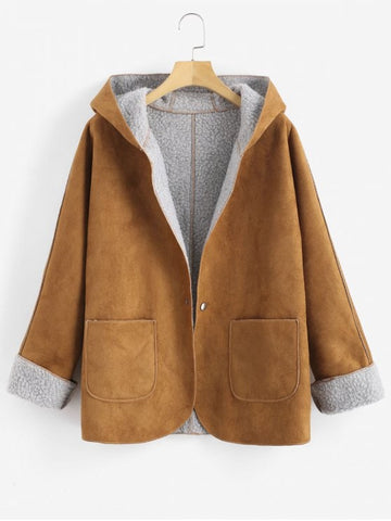 Warm Soft Cuffed Sleeves Hooded Sheepskin Coat