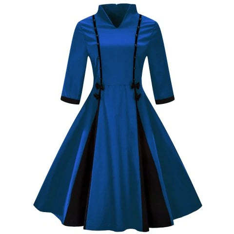 Modern Chinese Style 3/4 Length Sleeve Splicing Party Dress