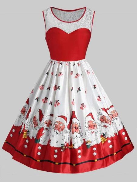 Graceful Plus Size Christmas Santa Claus Vintage Flare Dress