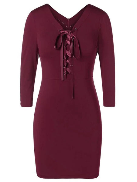 Fashion Plus Size Lace Up Pencil Dress