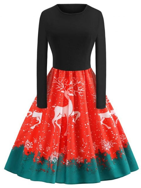 Plus Size Christmas Elk Printed Vintage Flare Dress