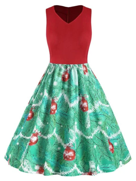 Plus Size Vintage Christmas Printed Flare Dress