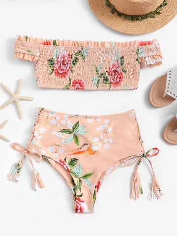Print Shirred Off Shoulder Bikini Set
