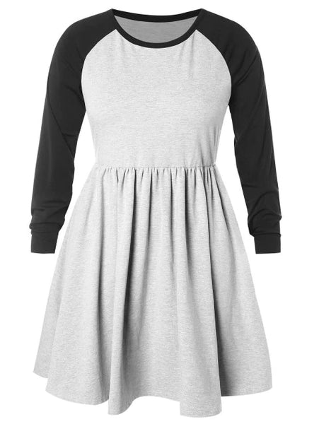 Plus Size Raglan Sleeve Hit Color Pleated Dress