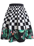 Romantic Cactus Printed A-line Skirt