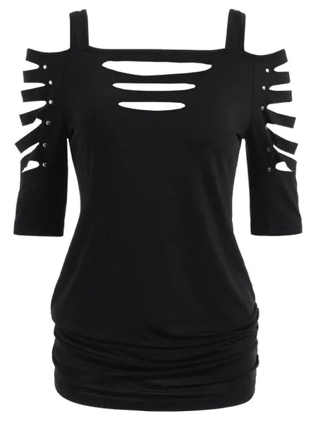 Graceful Cut Lacerated Sleeve T-shirt
