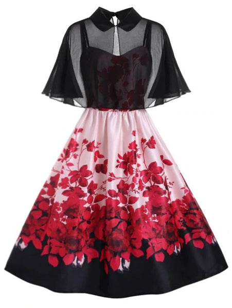 Stunning Plus Size Pater Pan Collar Floral Print A Line Dress