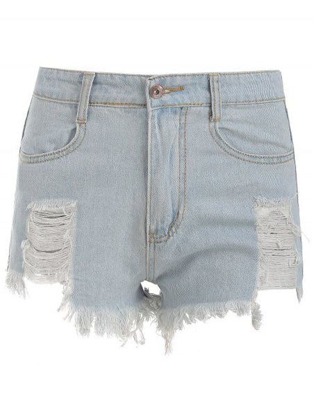 Elegance Frayed Hem Denim Shorts