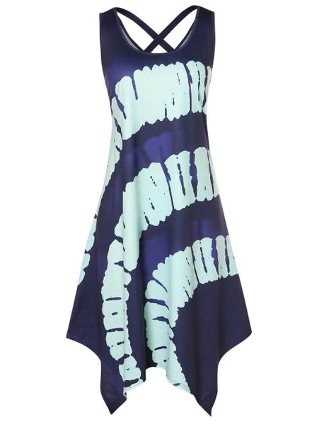 Plus Size Printed Asymmetrical Cut Out Dress