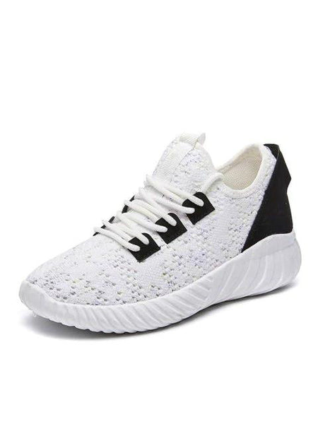 Low Heel Sneakers  Knitted Mesh Breathable Flat Bottom Non-Slip Shoe