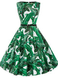 GREEN LEAF PRINT SHORT WOMEN VINTAGE DRESS