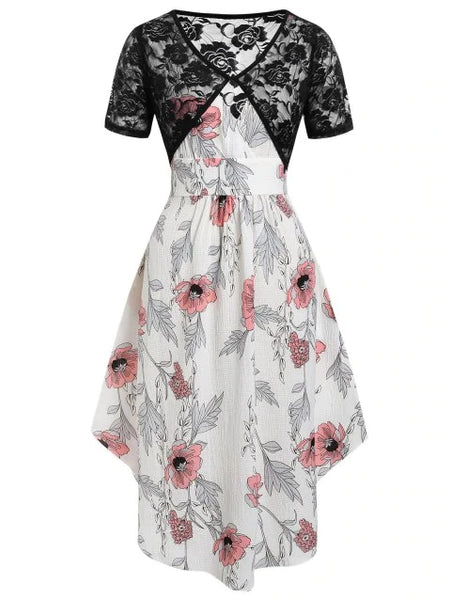Plus Size Asymmetrical Floral Print Dress With Lace Top