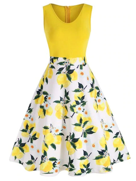 Plus Size Sleeveless Lemon Print Flare Dress