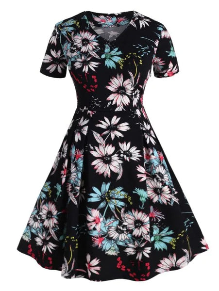Plus Size Floral Print Flare Dress