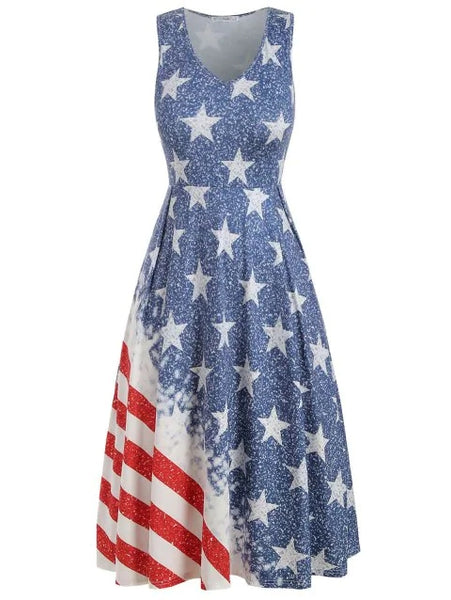 American Flag Plus Size A Line Dress