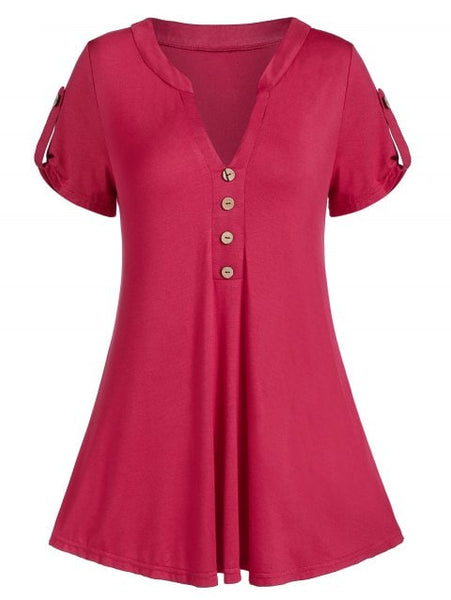 Graceful Curved Buttoned Casual Tunic Tee