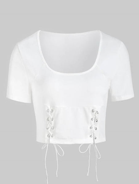 Elegant Lace Up Crop T-shirt