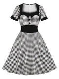 Plaid Buttoned Vintage Plus Size Dress