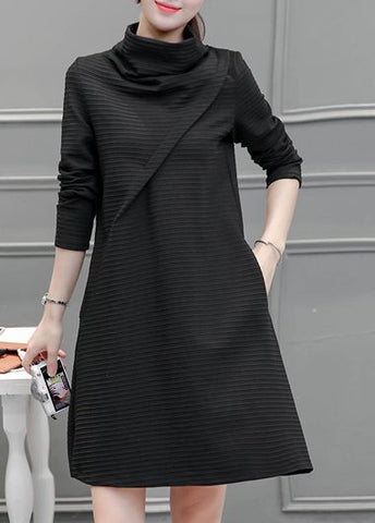 Chic High Neck Long Sleeve Black Dress