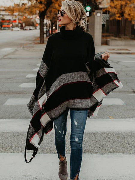 High-neck Knitting Sweater Cover-Ups Tops
