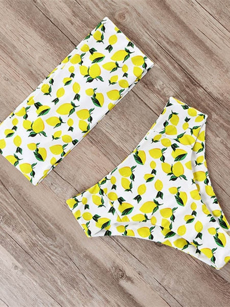 Lemon Print Bandage Bikini Swimwear Women Swimsuit High Waist Bikini
