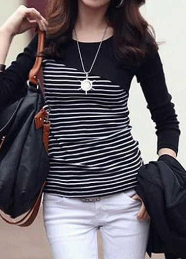 Trendy Long Sleeve Stripe Print Black T Shirt