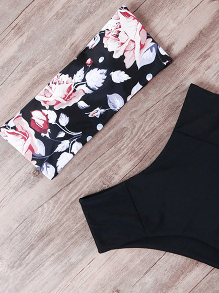 Flower Print Bandage Bikini Swimwear Women Swimsuit High Waist Bikini