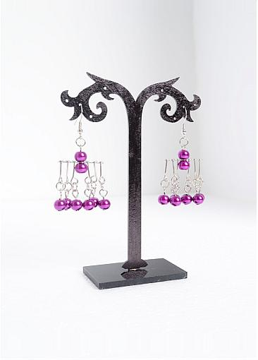 Fashion Glass Pearl Earrings, with Brass Earring Hooks, Magenta