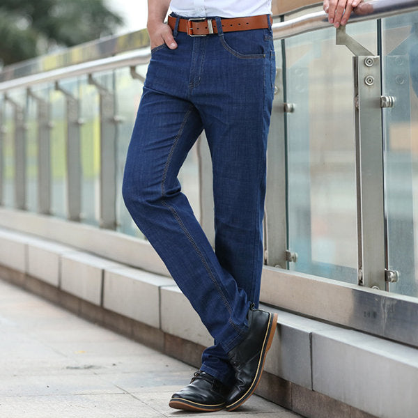 Fit Loose Straight Legs Jeans for Men Casual Business Fashion Elastic Slim