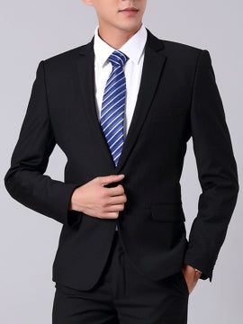 Formal Men's Work Suit with Solid Color