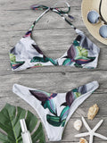 Halter Tropical Leaf Print Bikini