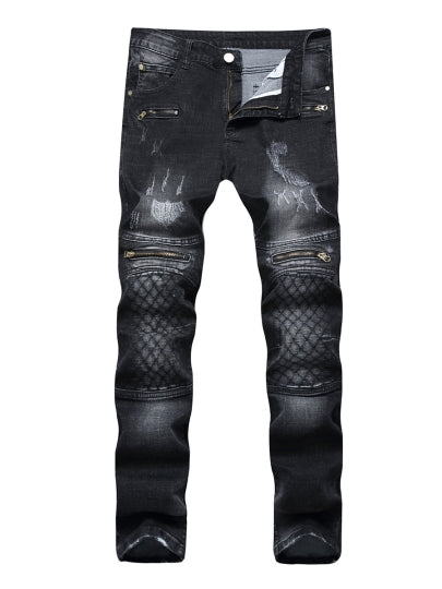 Slim Fit Men's Fashion Jeans Mid Waist Elastic Zipper Printed