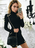 Slim Long Sleeve Black Dress Elegant Party Short Dress