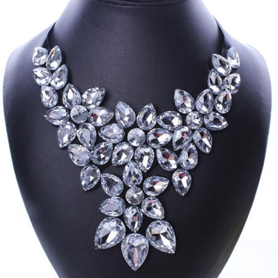Cheap Large White Rhinestone Necklace