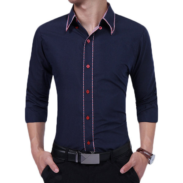Long Sleeve Button Down Designer Dress shirt for Men Bussiness Casual Slim Fit Solid Color
