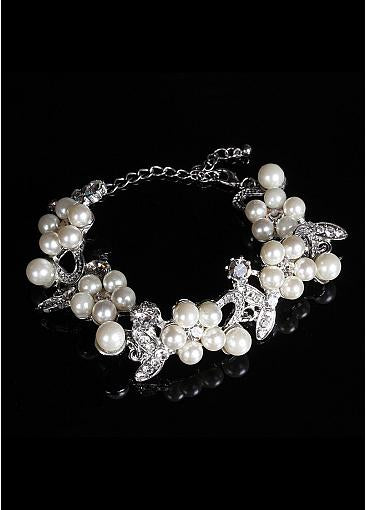 Bracelets With Rhinestones & Pearls Elegant Alloy