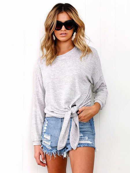 Long Sleeves Knotted Sweatshirts