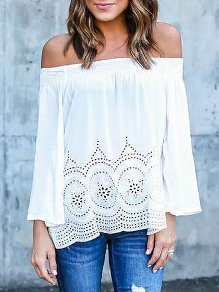 Stylish Off-the-shoulder Long Sleeves Blouse&shirt Tops