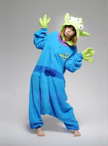 BLUE THREE EYED MONSTER COSTUME PAJAMAS SLEEPWEAR ONESIE