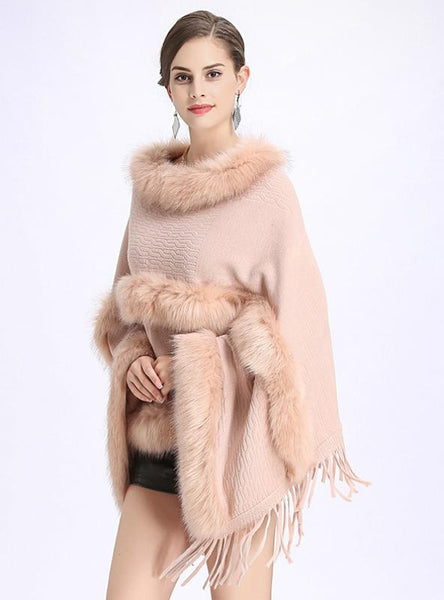 LOOSE ROUND NECK FRINGED PULLOVER SWEATER CAPE SHAWL