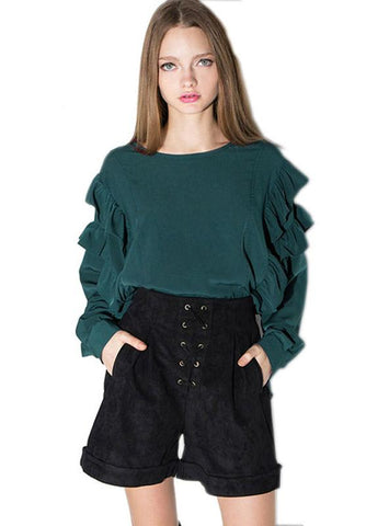 RUFFLE SLEEVE SHIRT GREEN FRILL HI-LO LADIES BLOUSE