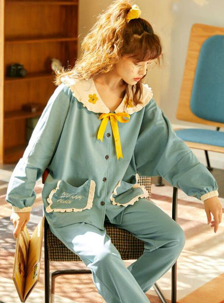 SPRING AND AUTUMN COTTON LONG SLEEVE COTTON SLEEPWEAR