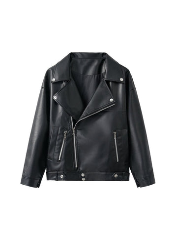 LOOSE PU FAUX LEATHER JACKET WOMEN CLASSIC MOTO BIKER JACKET